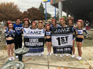 CCE Cheer Jamz comp Team 1st place Coed Red