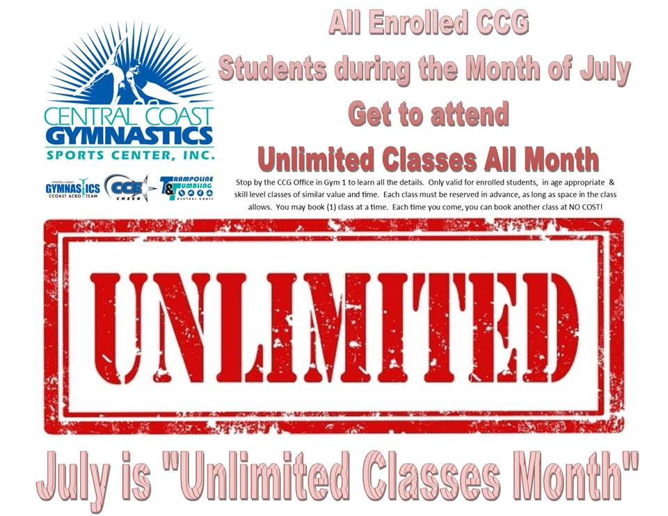 unlimited classes July sign