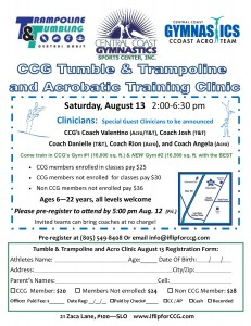 TnT and Acro Clinic registration flyer August 13