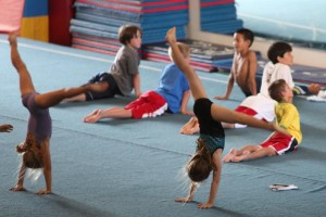 cartwheels and boys stretch