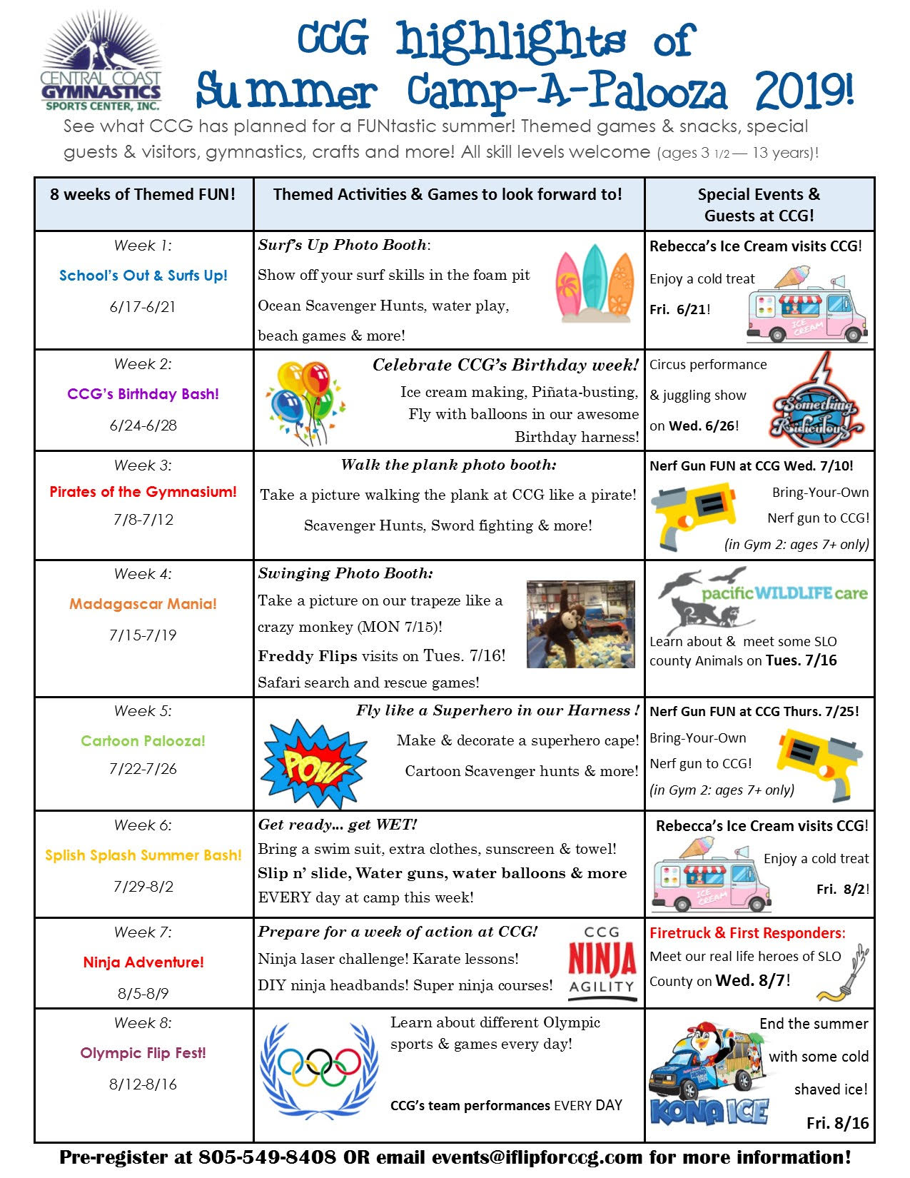 Camp A Palooza weekly fun calendar 2019